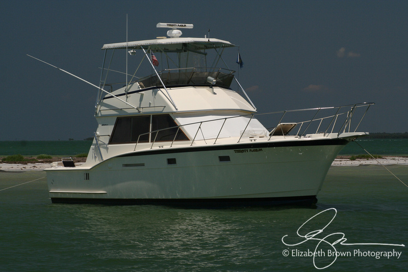 Anchored - Fishing yacht anchored at Three Rooker Bar near Anclote Key Preserve State Beach