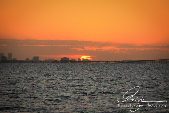 Sunrise over Tampa Bay from Safety Harbor, FL